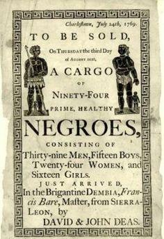 1769 slave auction advertisement