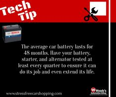 Want to make your vehicle last longer? Have your battery checked at least every quarter, that way no issues will arise while your driving down those open roads! #wow #wowwoodys #woodysautomotive #techtuesday #cartips #carmaintenance