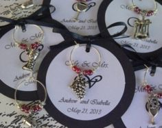 50 Custom Wine Themed Wine Charm Favors - Weddings, Bridal Shower, Rehearsal Dinner, Anniversary, Birthday Party or Special Event