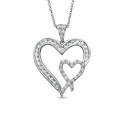 Zales: 1/4 CT. T.W. Diamond Double Heart Pendant in Sterling Silver