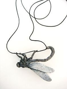 Mielle Harvey- Dragonfly Clinging: 2010, 2in, lost wax cast sterling silver, silk cord