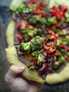 Roasted Veggie and Black Bean Mexican Pizza