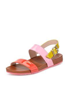 Tricolor Double-Band Flat Patent Sandal, Poppy/Lollipop by Fendi at Neiman Marcus.