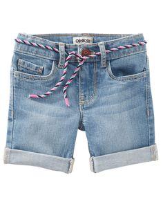 Kid Girl Denim Bermuda Shorts - Nineties Wash | OshKosh.com
