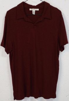 Kenneth Cole Mens Maroon 50% Viscose 50% Cotton Short Sleeve Polo Shirt Medium M #KennethColeReaction #PoloRugby