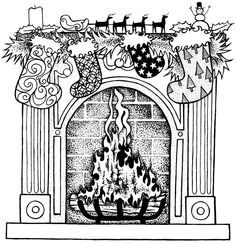 Welcome to Dover Publications clip art Christmas Coloring Pages, Coloring Book Pages, Printable Coloring Pages, Coloring Pages For Kids, Christmas Images, Christmas Colors, Christmas Art, Xmas, Christmas Fireplace