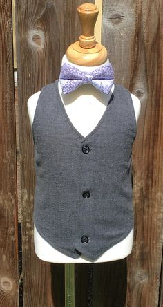 Boys Dark Grey Formal Wear Herringbone Vest Toddler Gray