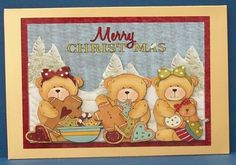 Merry Christmas Teddies on Craftsuprint designed by Frances Dent - made by Cheryl French - Printed onto glossy phot paper. Attached base image onto gold card stock using ds tape. Built up image with 1mm foam pads. Added glitter glue to trees. - Now available for download!