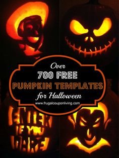 FREE Pumpkin Templates for Halloween - over 700 pumpkin template ideas for kids and adults on Frugal Coupon Living.