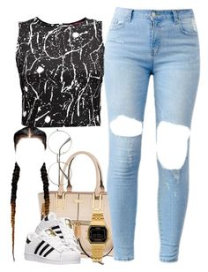 """""""Untitled #914"""" by cjasmyne ❤ liked on Polyvore featuring River Island, adidas, Boohoo and Casio"""