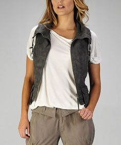 Take a look at this Charcoal Faux Suede Vest by miilla  on #zulily today!