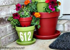 Mommy's Kitchen: DIY Terra Cotta Tiered Planter with Rust-OLeum Paint