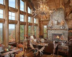 rustic great room antler chandelier
