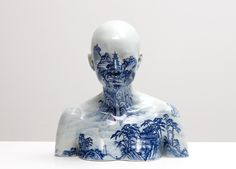 Porcelain Busts Imprinted with Chinese Decorative Designs by Ah Xian... AMAZING!!!!