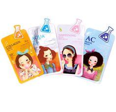 Fascy Tina Face Mask Pack 4 Type (Collagen,Aqua,Clarification,AC) 10ea 26g…