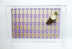 Purple & Gold Ikat Lucite Tray. $75.00, via Etsy.
