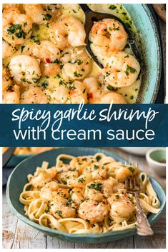 Garlic Shrimp is a simple, easy recipe to make for appetizers or for dinner. This spicy garlic shrimp recipe is just SO tasty, and only takes about 10 minutes to makes. Serve this sauteed garlic shrimp as a quick app, or turn it into a creamy garli Creamy Garlic Shrimp Recipe, Sauteed Garlic Shrimp, Spicy Shrimp Recipes, Simple Shrimp Recipes, Best Shrimp Scampi Recipe, Creamy Shrimp Scampi, Seafood Pasta Recipes, Garlic Recipes, Chicken Broth Nutrition