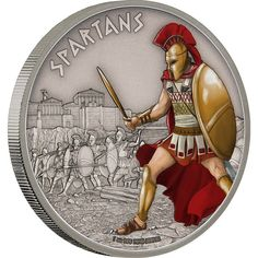 SPARTANS Warriors of History 1oz antiqued silver coin Niue 2016
