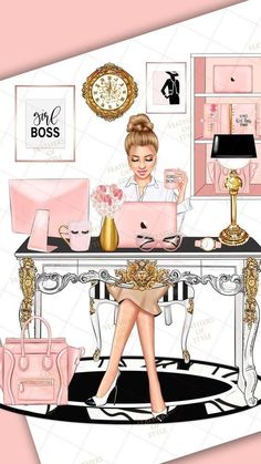 She choosed beige and white colours to relax in work with modern architecture and Apple products in all office and out of IT also Boss Babe, Girl Boss, Mode Poster, Girly Drawings, Illustration Art, Illustrations, Fashion Wall Art, Fashion Wallpaper, Mary Kay