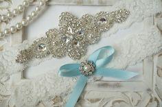 Wedding Garter Set, Bridal Garter Set, Vintage Wedding, Ivory Lace Garter, Crystal Garter Set, Something Blue - Style 100B by OneFancyDay on Etsy https://www.etsy.com/listing/165754202/wedding-garter-set-bridal-garter-set
