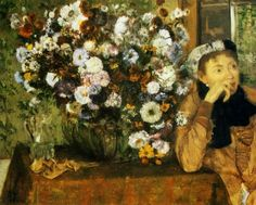 Edgar Degas – A Woman Seated beside a Vase of Flowers