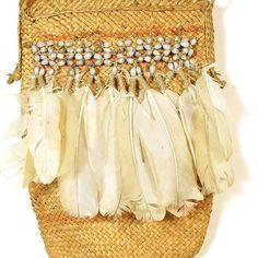 Vintage Bilum Bag with Cockatoo Feathers & Job's Tears / Tribal Papua New Guinea Woven Straw Grass F