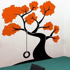 Simple way to delineate Elements of a tree. (Tire Swing Tree Wall Decal Sticker...might do this in P's room)