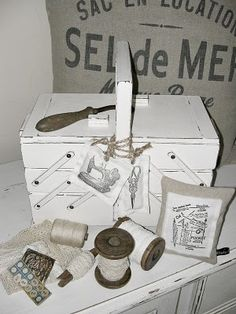 Need to look for one of these old sewing boxes to paint.  Sweet.