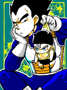 Vegeta and baby Trunks