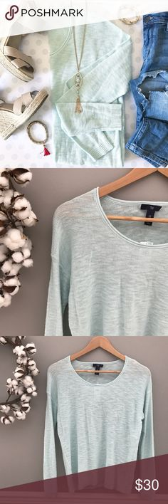 🆕 NWT GAP featherweight sea foam layering sweater NEW WITH TAGS -- ▫️super-fine cotton / viscose blend ▫️ very soft, very stretchy ▫️ rolled hem on neckline ▫️ finished cuff on hem and sleeve (see pictures above) ▫️crew neck ▫️all size measurements to come ▫️semi-sheer-- could wear nude undergarments and be fine depending on preference. I would feel most comfortable in a cami or my ideal way would be to layer this over a button down. 💗 ▫️ also comes in camel color on another listing GAP…