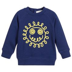 Stella McCartney Kids Navy Blue 'Sun Face' Baby Sweatshirt at Childrensalon.com
