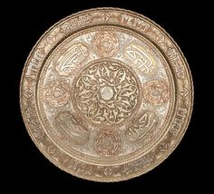 A large Mamluk revival silver and copper inlaid brass Charger Egypt or Syria, Century Islamic World, Islamic Art, Indian Sword, Copper Art, Steel Art, Iranian Art, Syria, Art And Architecture, Archaeology