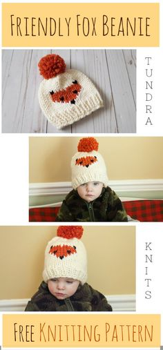 The Friendly Fox Beanie - Knitting Pattern - Tundra Knits ! the friendly fox beanie - patron de tricot - tundra knits Beanie Knitting Patterns Free, Beanie Pattern Free, Baby Hat Patterns, Fox Pattern, Baby Hats Knitting, Knitting For Kids, Knitting Projects, Knitted Baby Hats, Baby Knits
