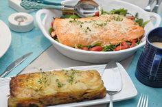 Saltbakad lax – potatistterrin – hummersås