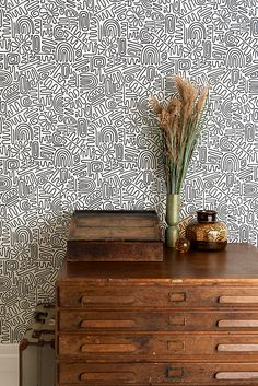 Wallpaper by MissPrint Wallpaper Paste, Wall Wallpaper, Nazca Lines, Graphic Patterns, Abstract Pattern, Decoration, Floating Nightstand, Diy, Charts
