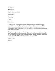Graduation Congratulations letter - Example of a congratulations letter to send to a college graduate who has a new job.