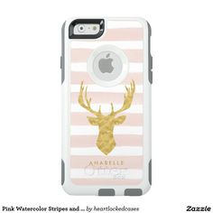 Pink Watercolor Stripes and Gold Deer OtterBox iPhone 6/6s Case