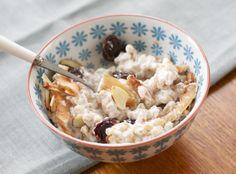 Breakfast: warm farro with coconut milk, almonds, honey & dried cherries // A Sweet Spoonful.com