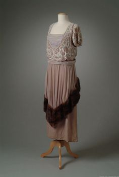 Evening gown (image 2) | Harry Collins | United States; New York | 1919 | silk, mink, bugle beads | Oakland University Meadow Brook Hall | Object #: 01_01_19