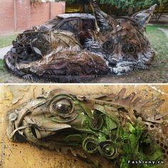 Скульптуры животных из отходов руками португальского активиста