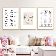 Visit the post for more. Modern Girls Rooms, Nordic Art, Nordic Style, Salon Art, Beauty Salon Decor, Makeup Room Decor, Shape Art, Pictures To Paint, Canvas Wall Art
