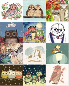 Owl Lovers 2013 Free Printable Calendar-you get to pick your own owl art from a long list for every month