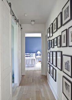 Heather A Wilson, Architect | Pitt Street, Mount Pleasant Barn Door to office? Love the black frames for a narrow hallway - great ideas !!