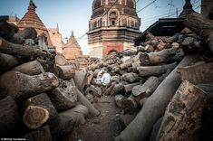 Practicalities: Piles of mango wood logs, which are cheaper than sandalwood, are used for burning human bodies. About nine million people die in India annually, so for practical reasons other methods of cremations are being introduced using electricity or gas instead