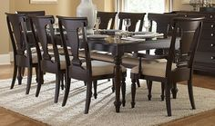 Inglewood 7 Pc Dinning Table With Chairs with 18inch Leaf (Table, 4 Side Chairs, 2 Arm Chairs) Sophistication merges with elegant lines and classic shapes in the Inglewood Collection. The bold server
