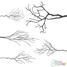 Vector realistic tree branches clip art set