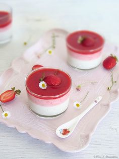 Panna cotta with vanilla yogurt and strawberry mousse