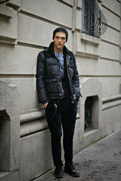 Model Alexandre Cunha, Milano, January 2013.