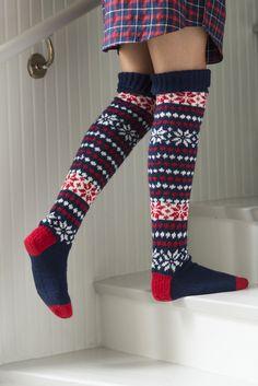 Långa jacquardstickade strumpor Novita Nalle | Novita knits