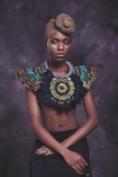 www.cewax.fr aime ce collier plastron style ethnique tendance tribale tissu africain wax ankara shoulder piece ANita quansah